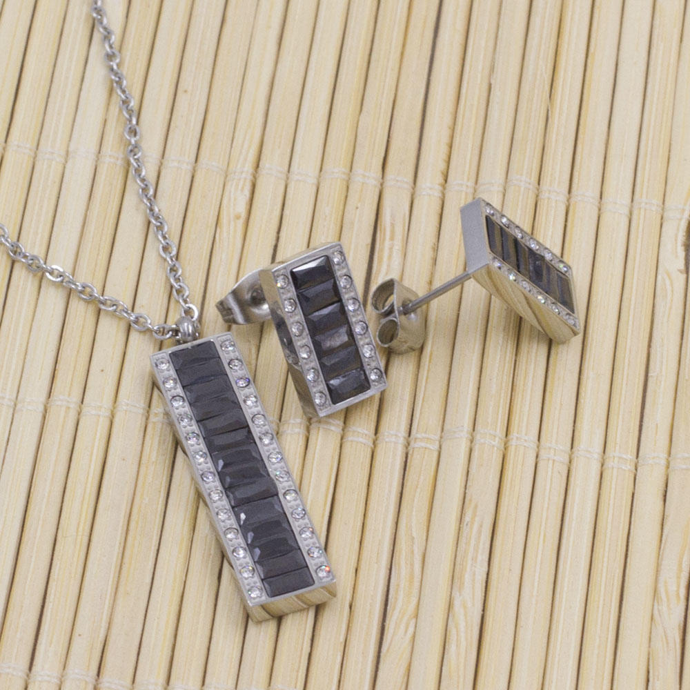 Hottest square shaped crystal stone pendant chain silver necklace fashion jewelry