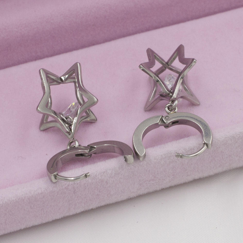 Wholesale rhinestone stud dangle star earrings