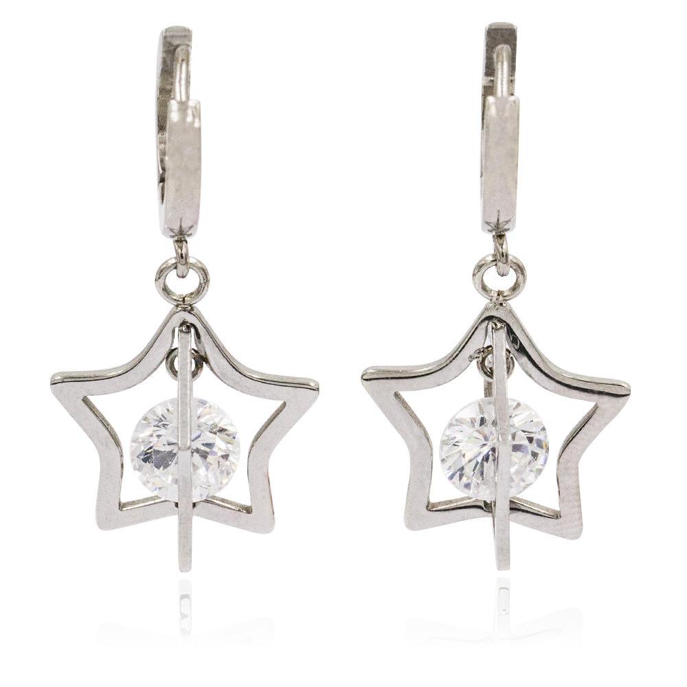 Wholesale rhinestone stud dangle star earrings