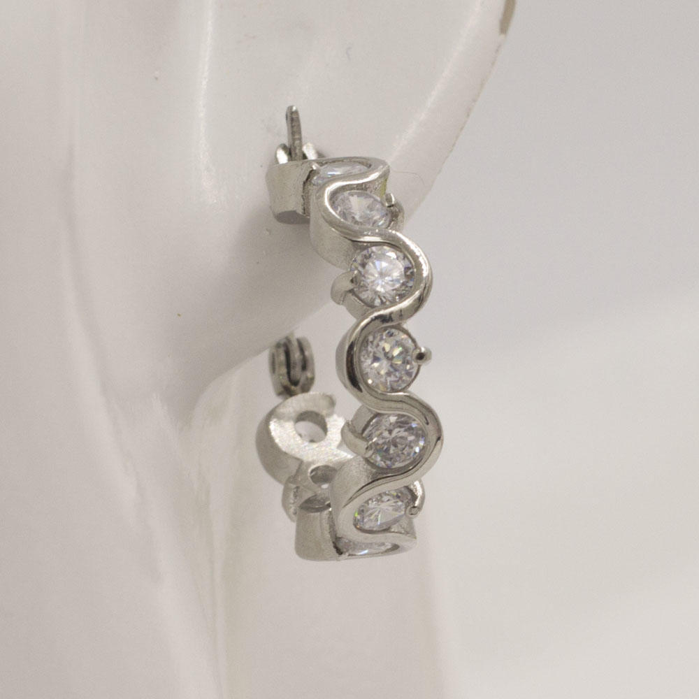 Special pattern wholesale market silver hoop earrings with round shape