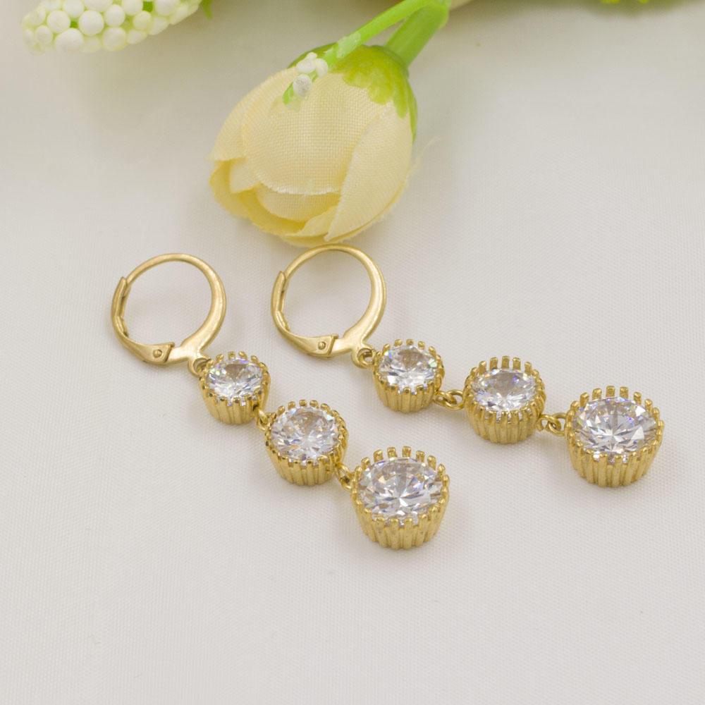 Baiyu big crystal gold plated dangle earrings