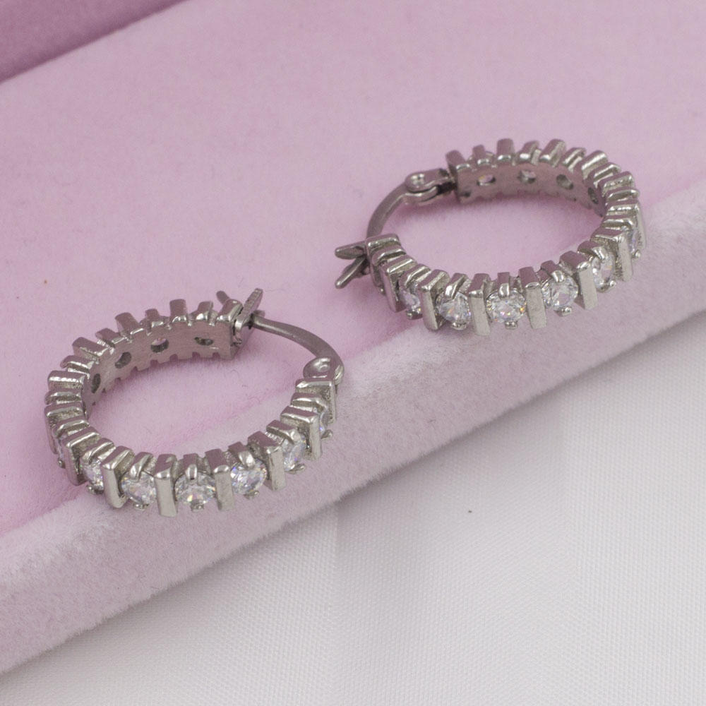 Unique designs silver color round stainless steel earrings