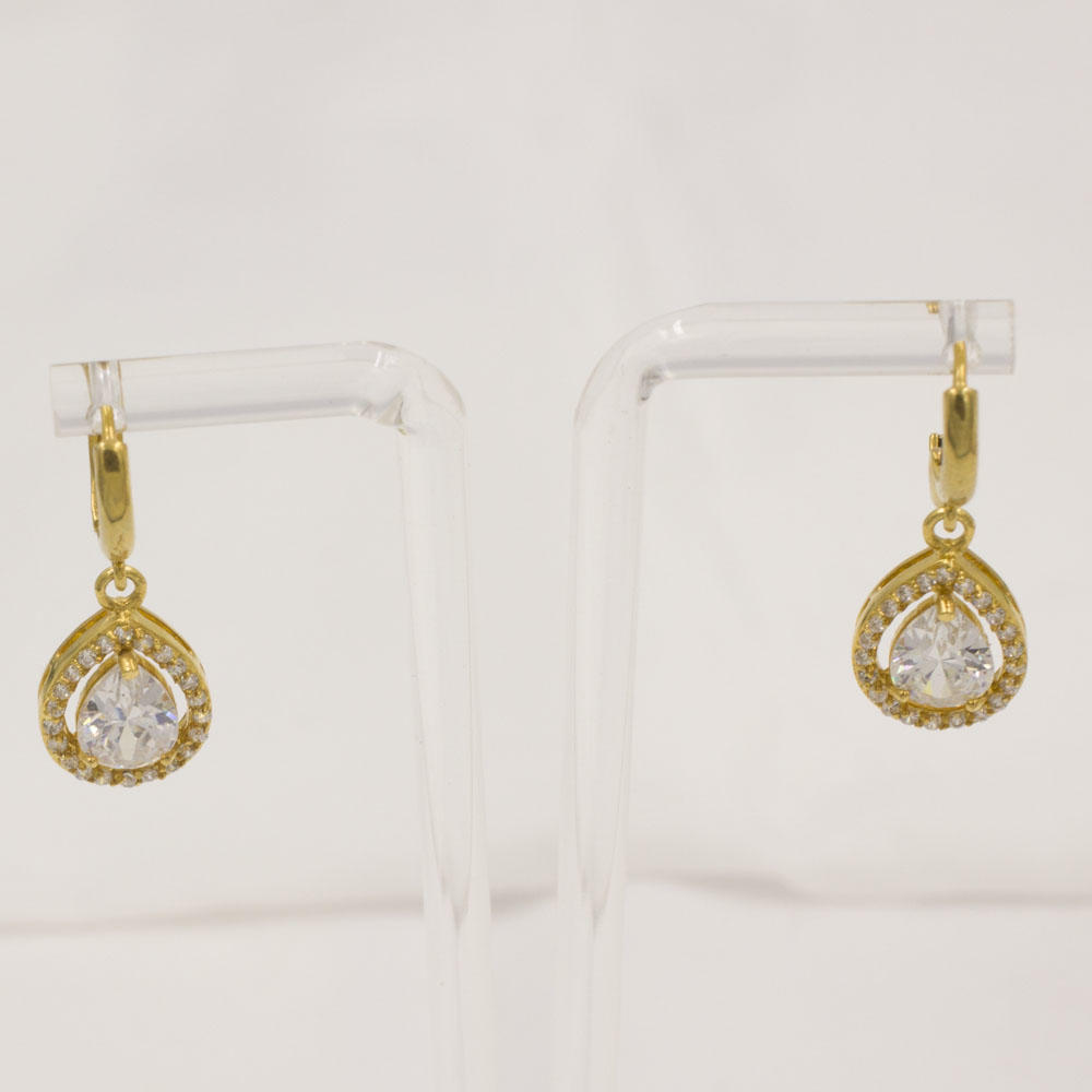 Luxury gold plated stainless steel water drop shape earrings