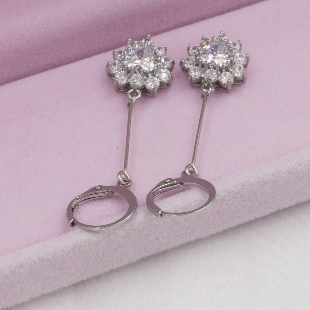 Love heart with crystals stainless steel dangle earrings