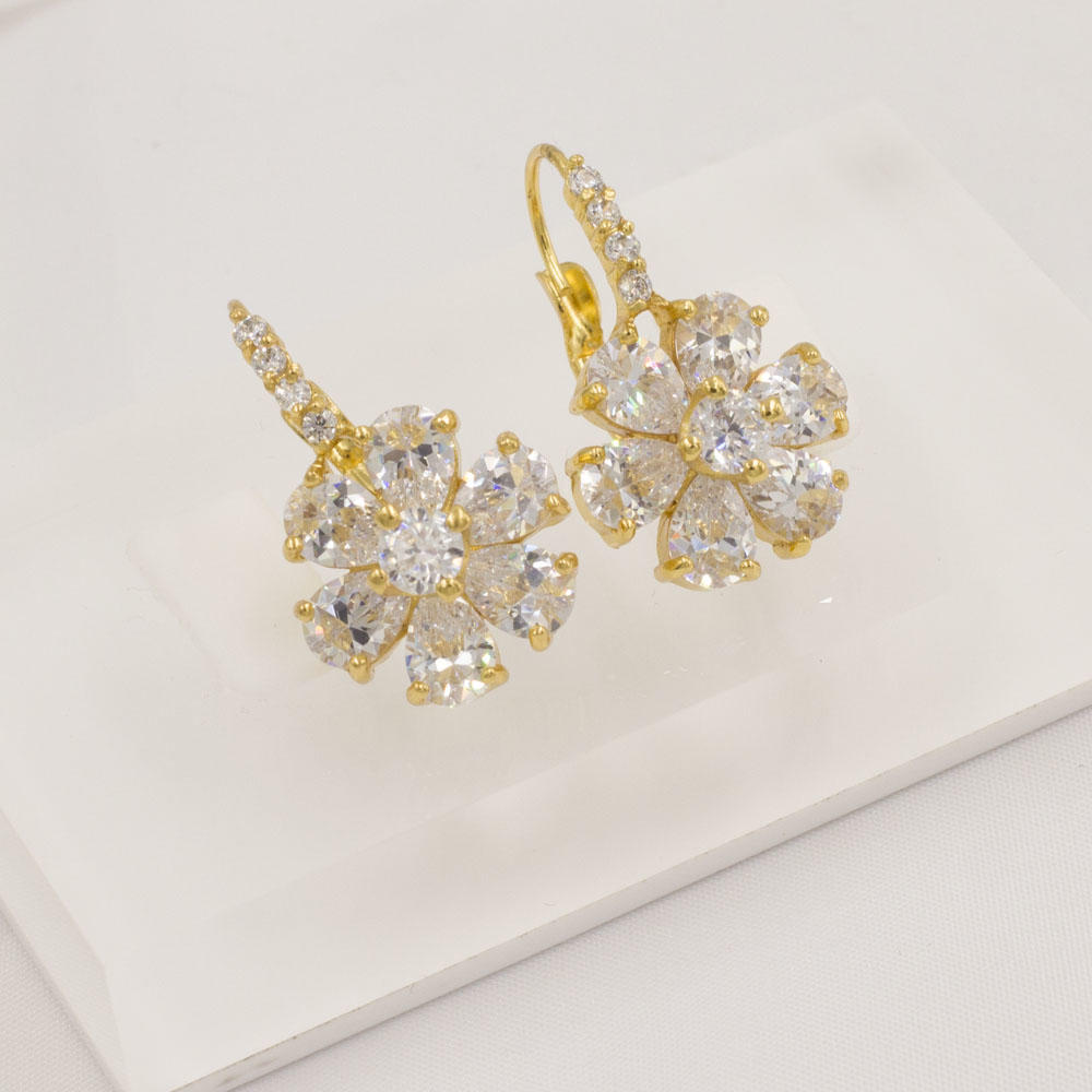 High quality stainless steel gold plated flower earrings for party