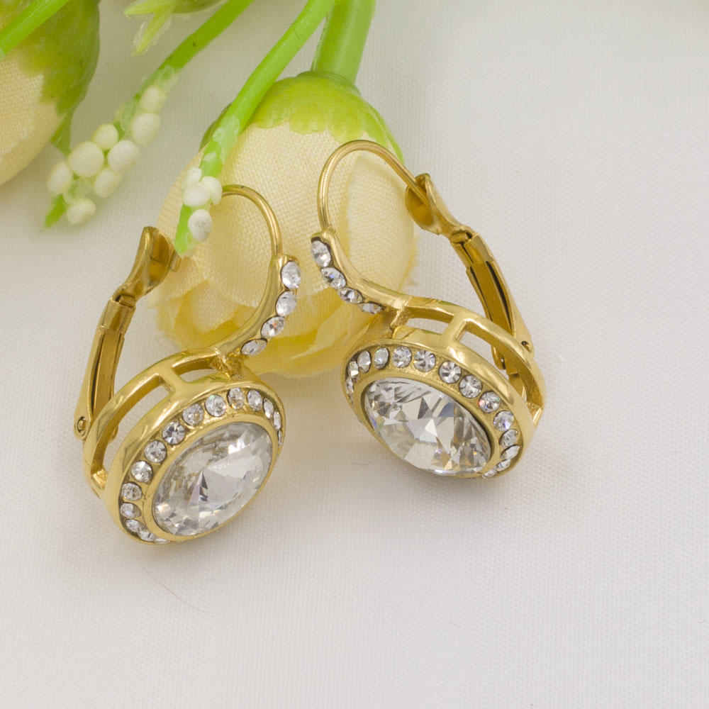 18K gold plated round shape crystal earrings