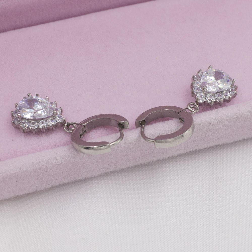 Good quality stainless steel water drop crystal earrings