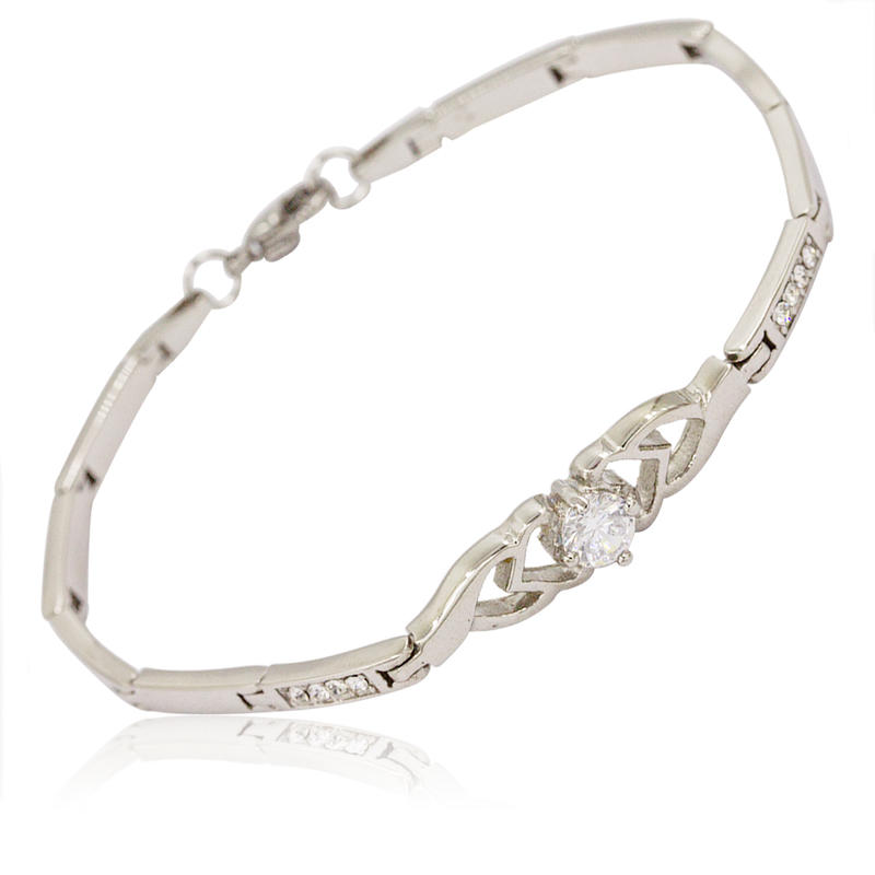 Fantastic tiny stainless steel love heart women crystal bracelet