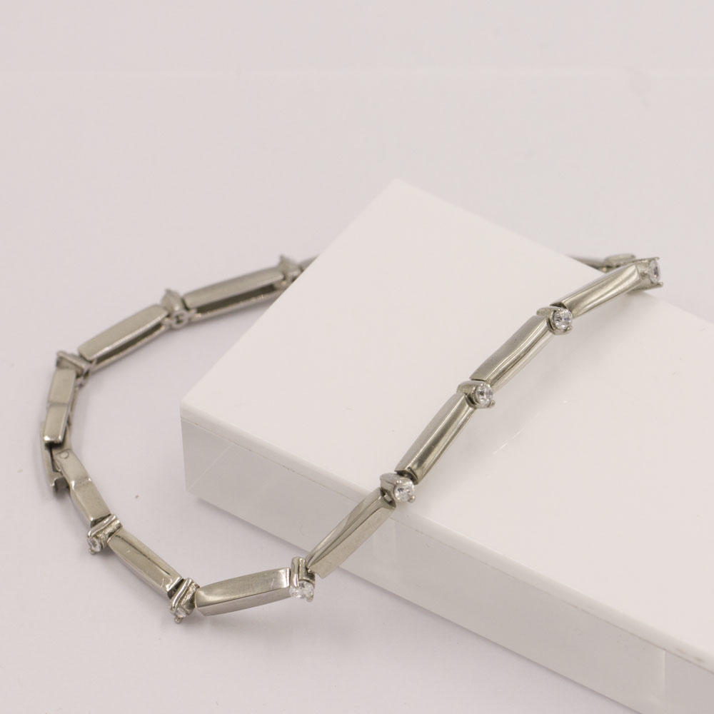 Vogue accessories women bracelet simple style sliver crystal stone bracelet in stainless steel