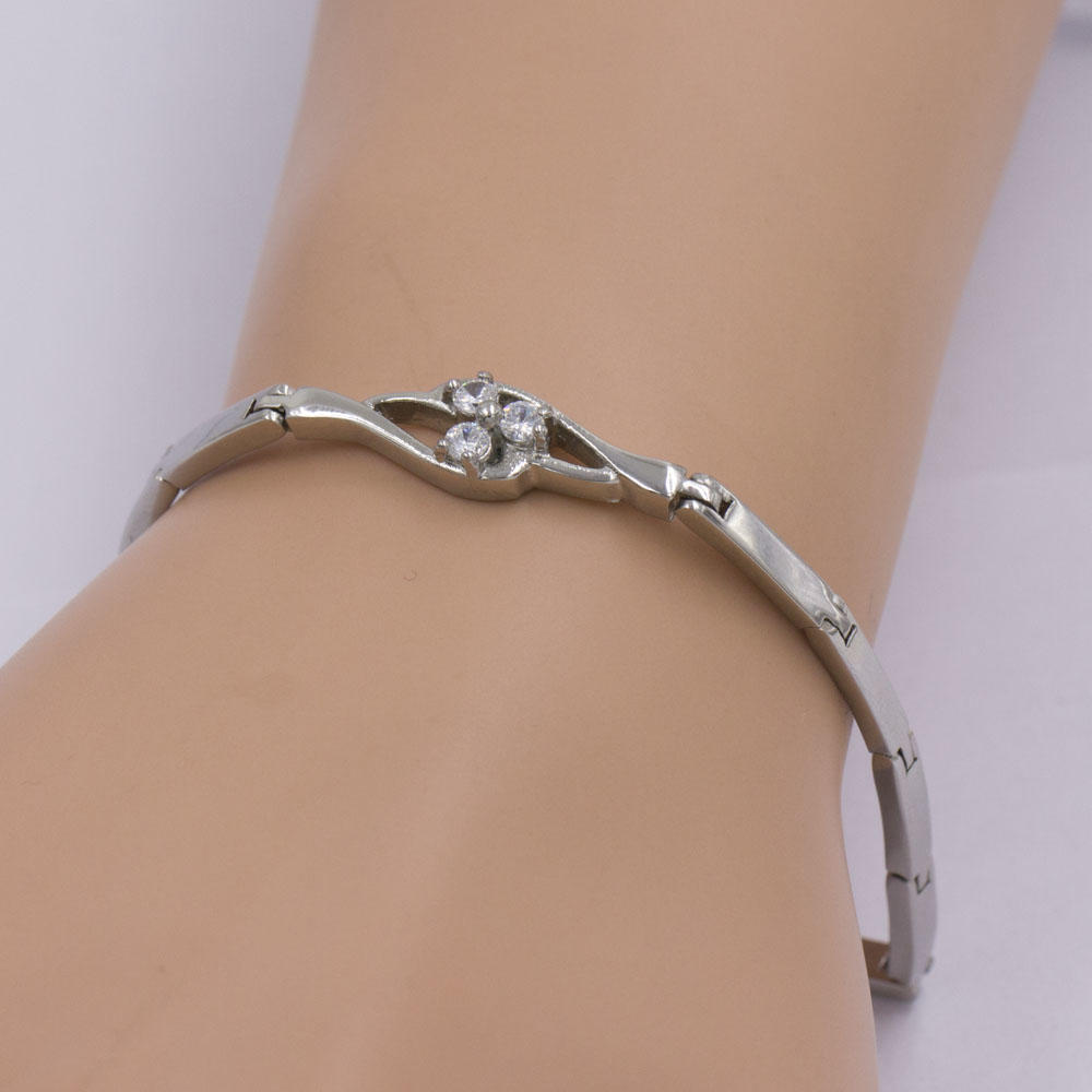 Factory price silver flower shaped with crystal stone bracelet