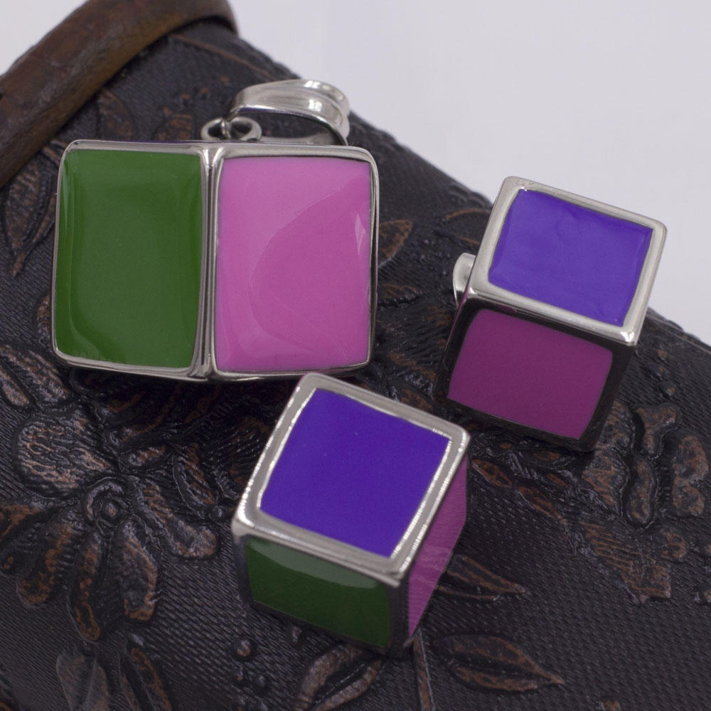 Personalized square cube stainless steel jewelry set