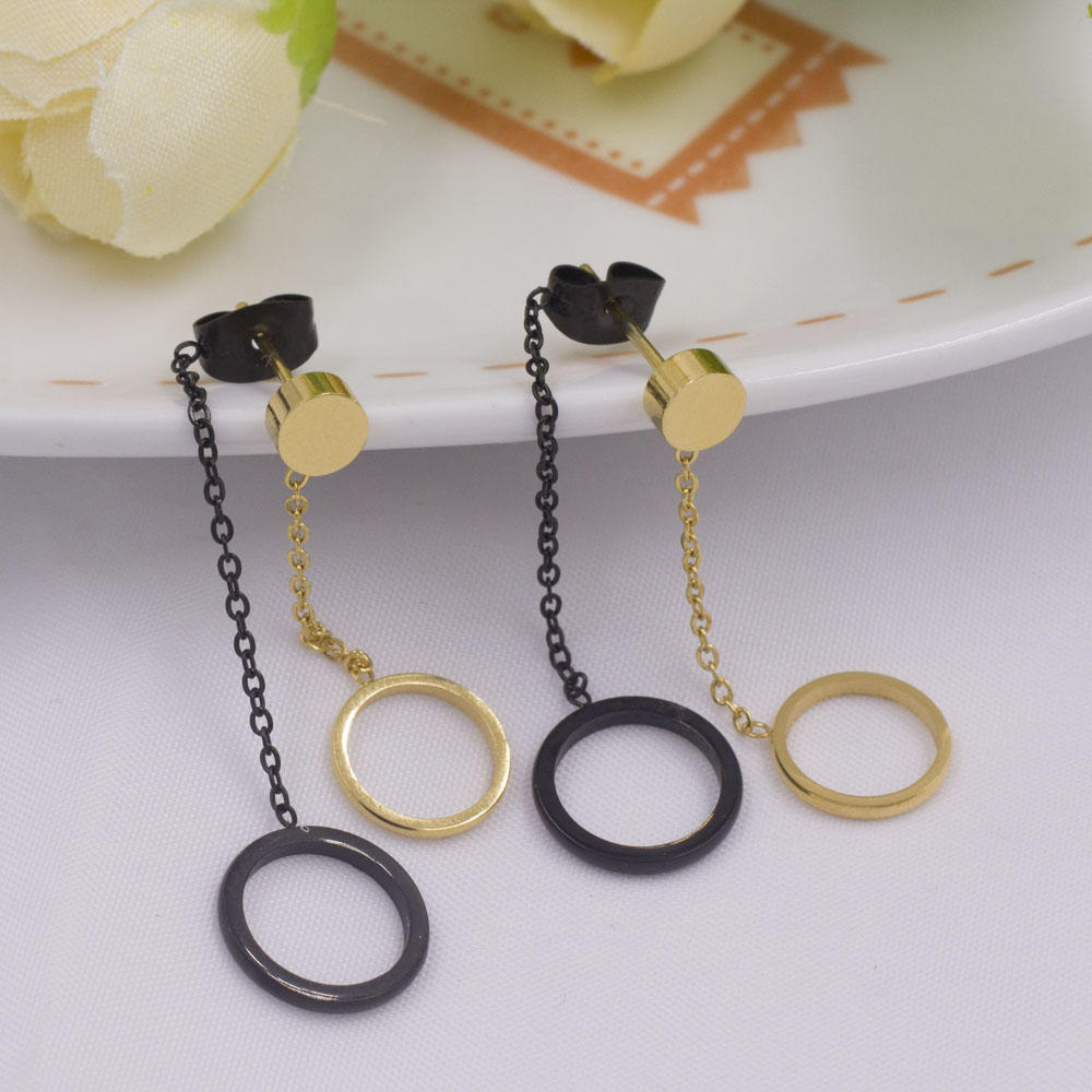 Simple style double circle drop dangling earrings