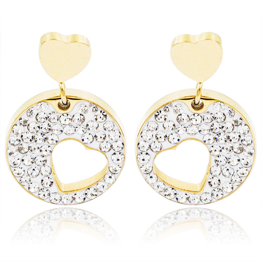 Baiyu gold heart shape dangle earrings with crystal