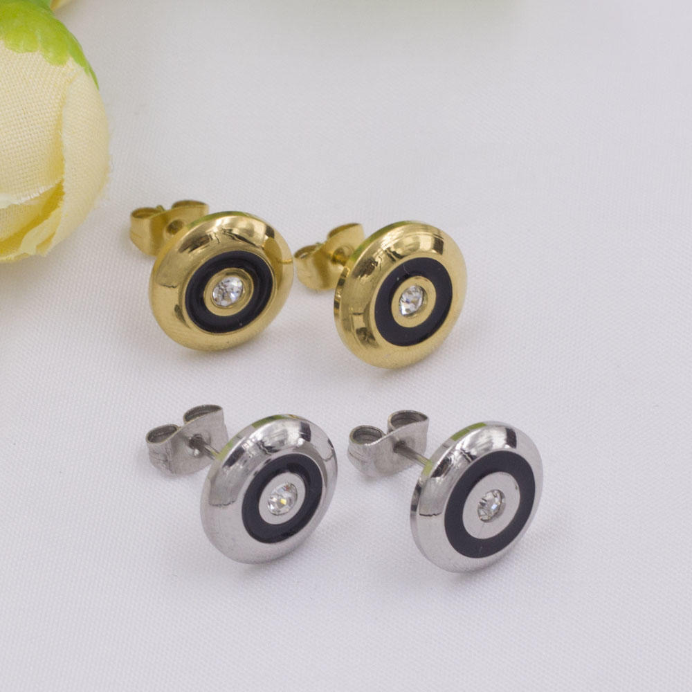 Single white stone gold stud earrings for women