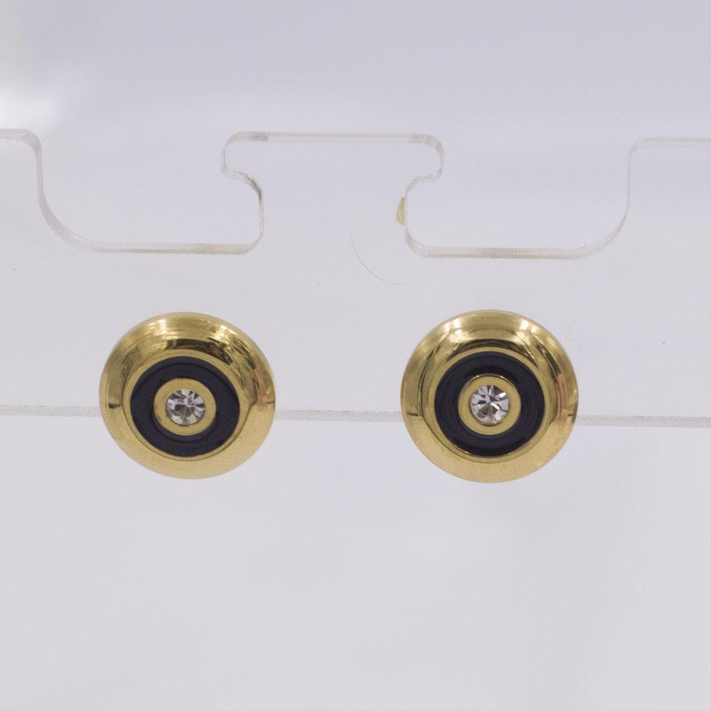 Single white stone gold stud earrings for women