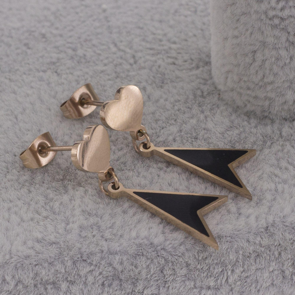 Rose gold heart stud with long triangle shaped dangle earrings