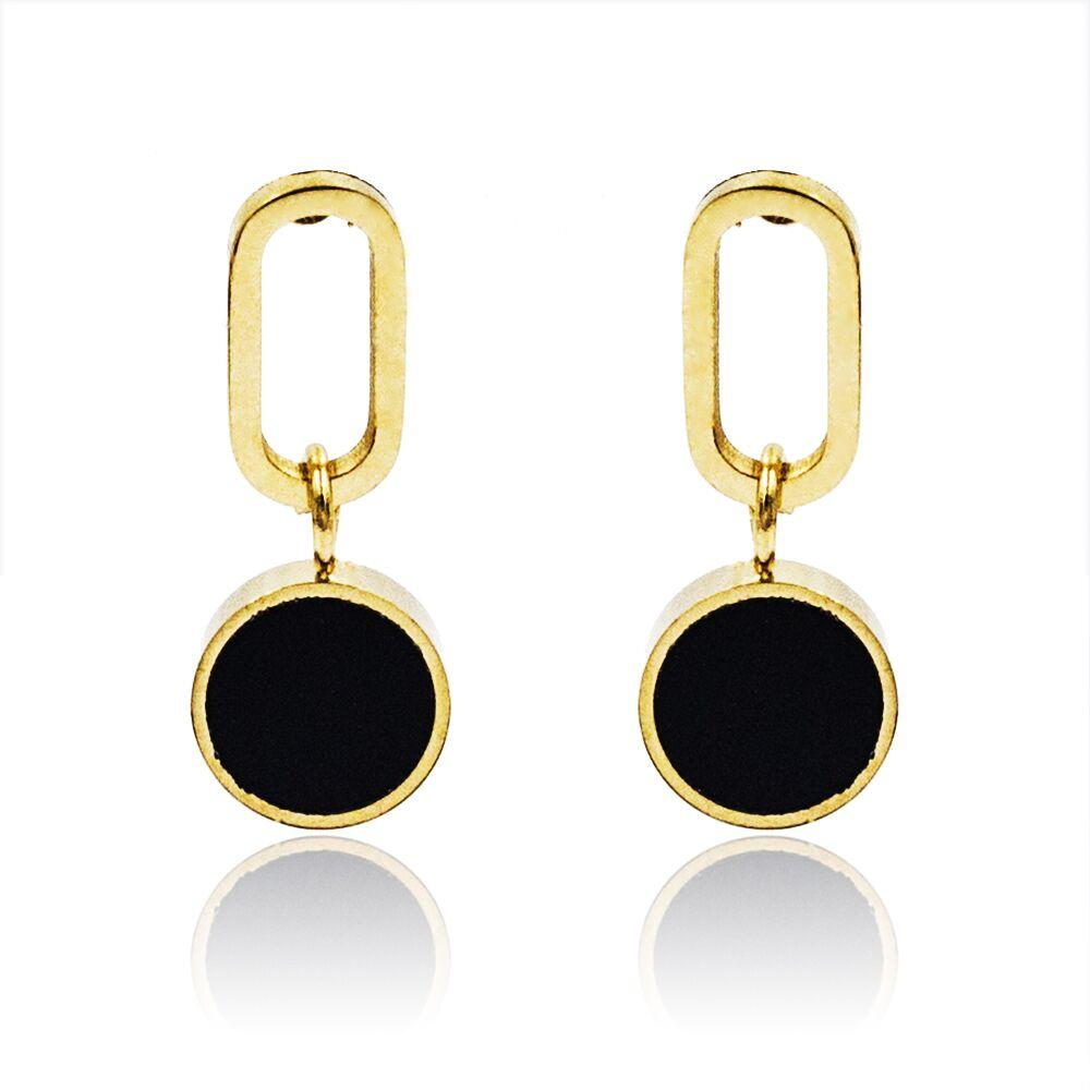 Simple gold small black wedding dangle earrings