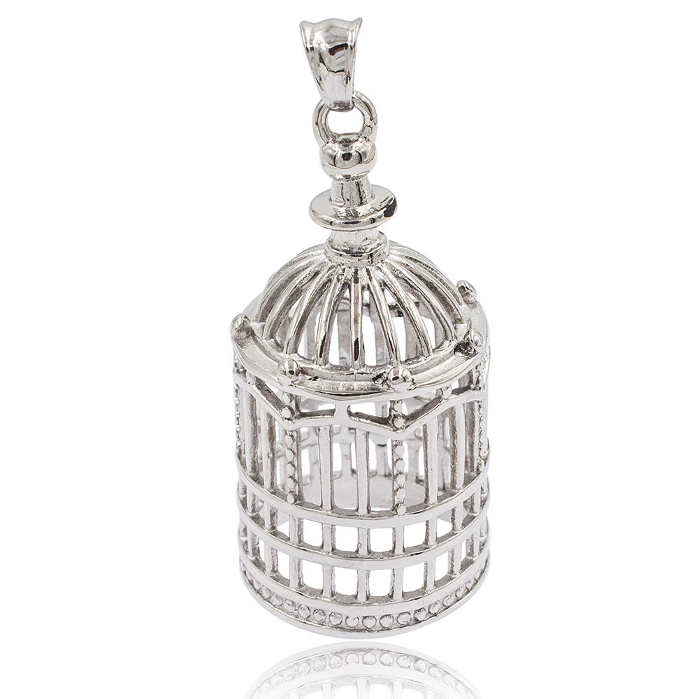 New design charm birdcage sliver pendant light in stainless steel