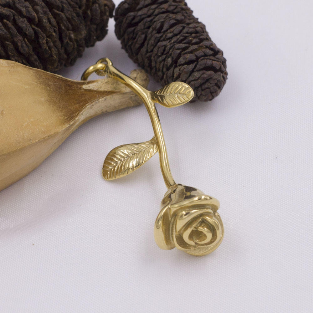 Hot product rose flower pendant,gold plated jewelry wholesale in stainless steel
