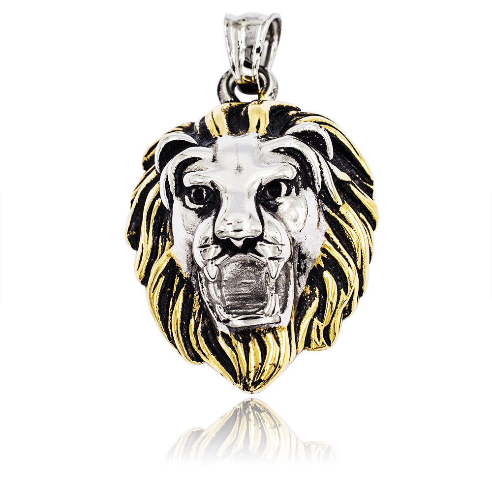 Stainless steel men lion head surgical textured pendant