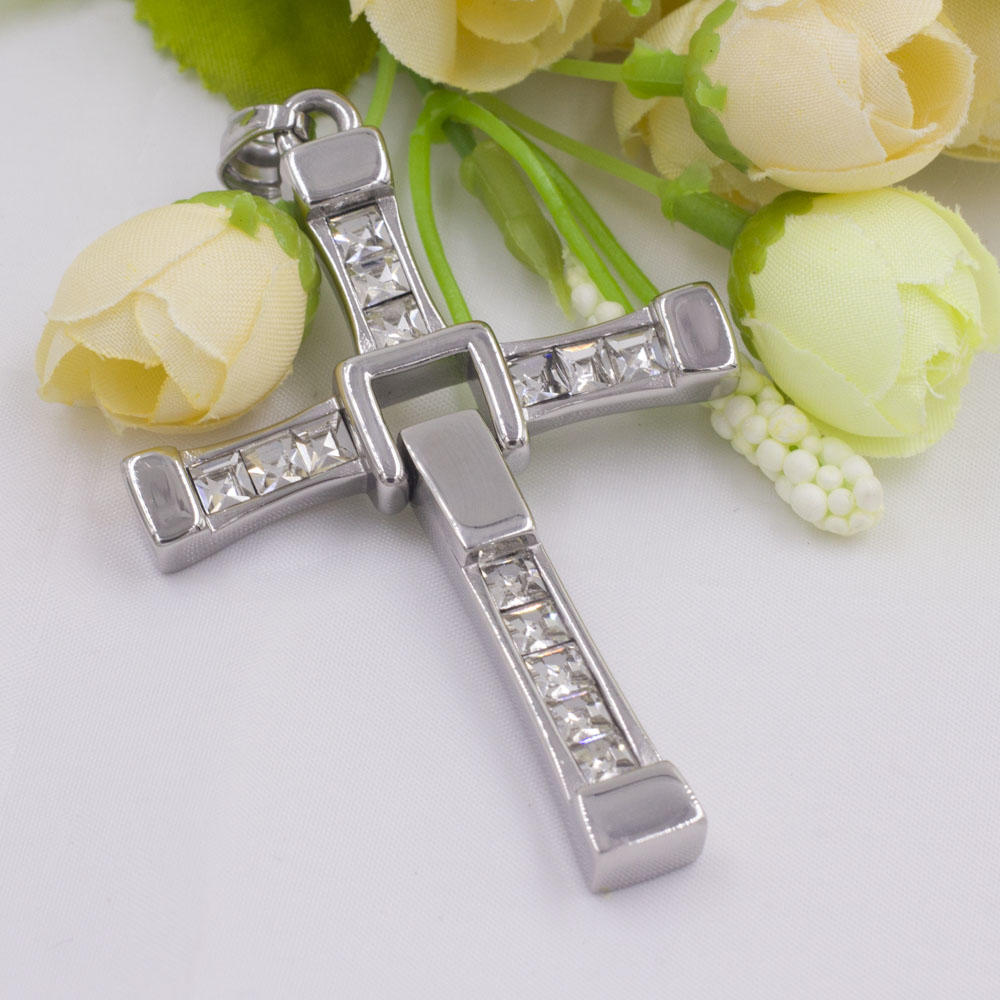 Shinny stainless steel jesus cross pendant with stones