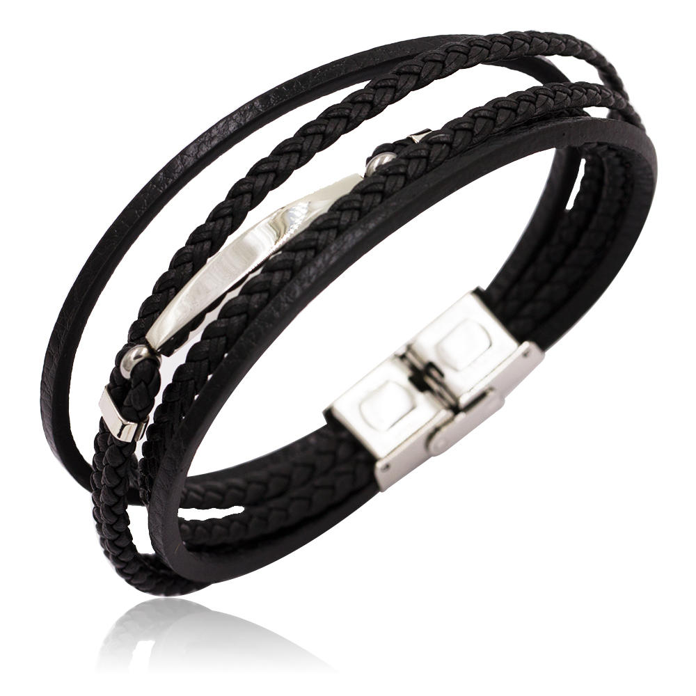 2018 Hot sale stainless steel leather bracelet men bangle form China supplier