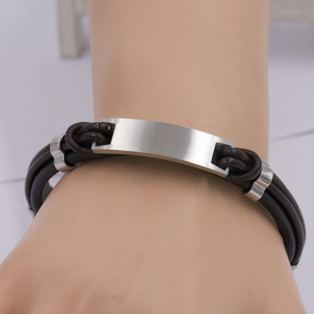 Wholesale bracelet bangle leather with new stainless steel men bangle