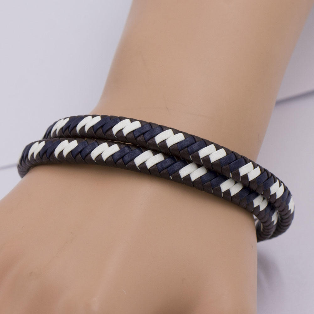 Good price new design 400mm leather bangle bracelet with stainless steel material