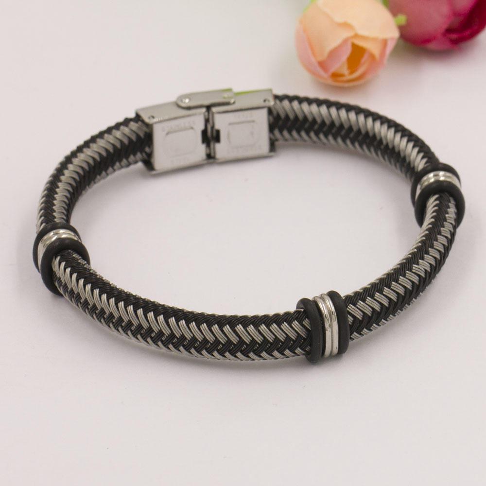 Fashion unisex black and stainless bracelet, handmade bracelet jewelry