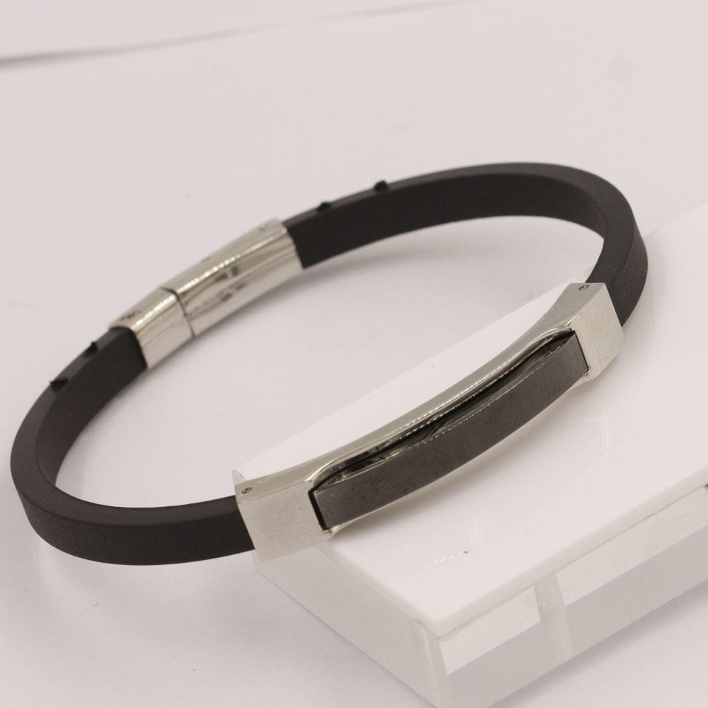 210mm Customized silver and black indian bangles sex bangle bracelet in stainless steel
