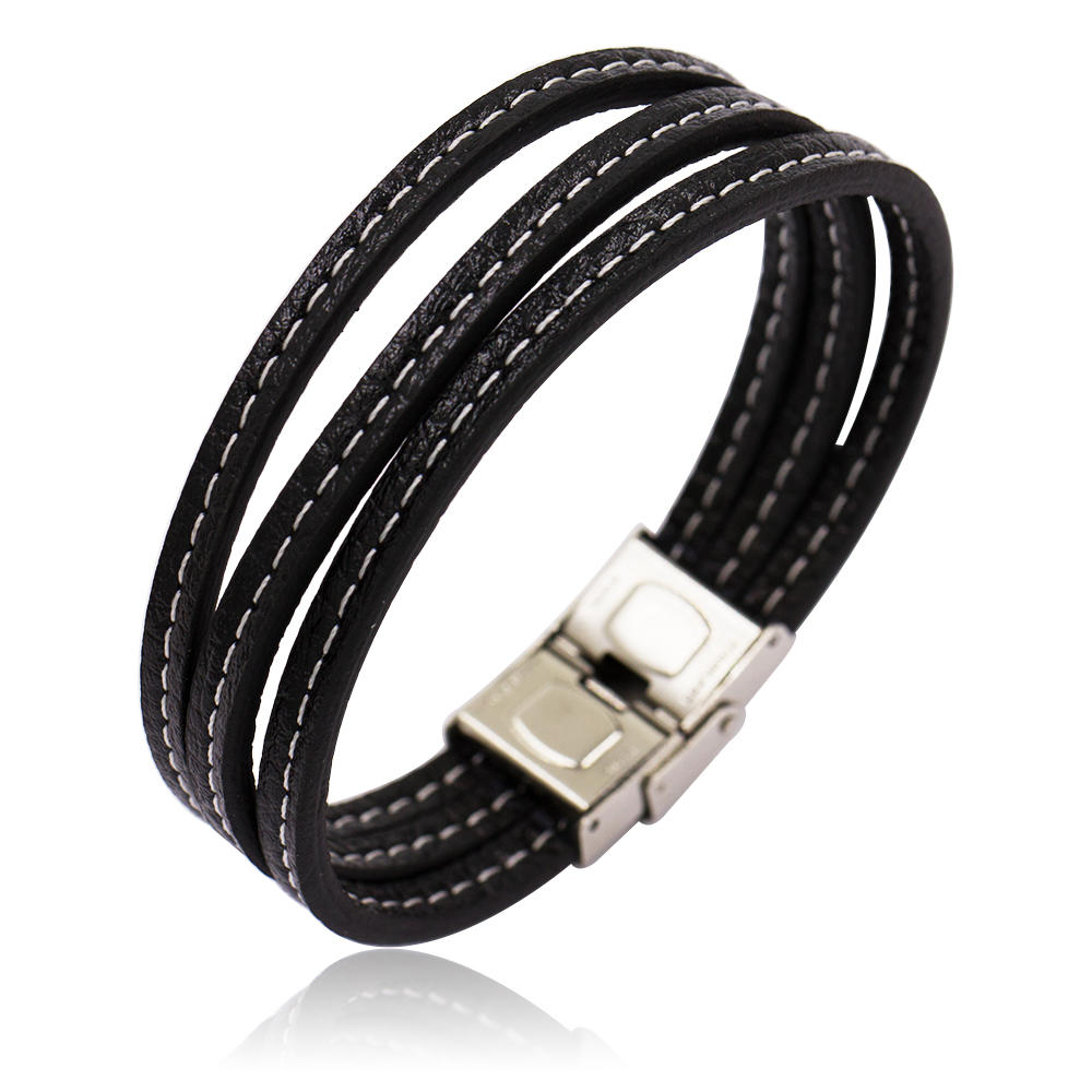 Fashion black leather and stainless steel bracelet bangle for boys