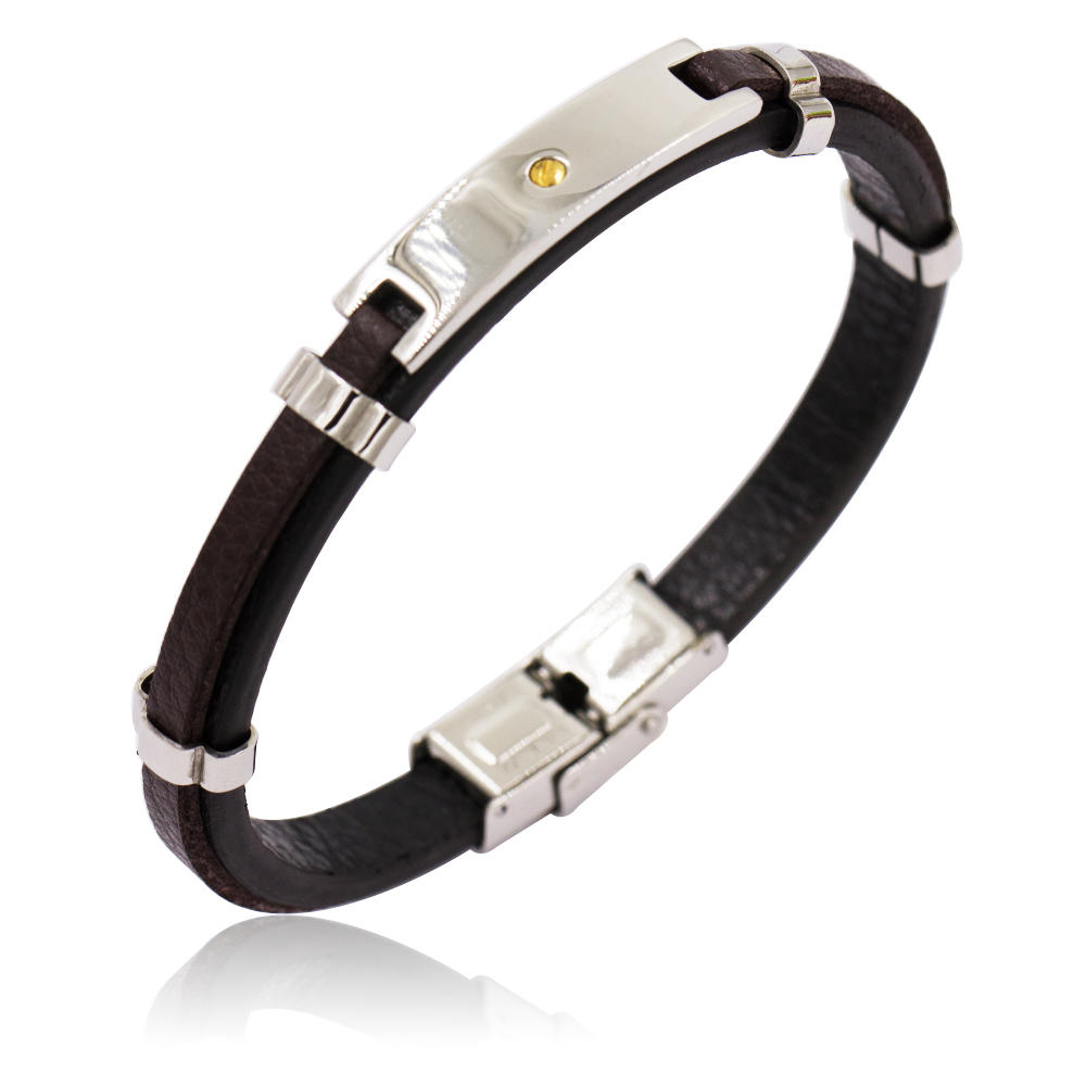 Simple double wrap black and brown leather rhinestone bangle