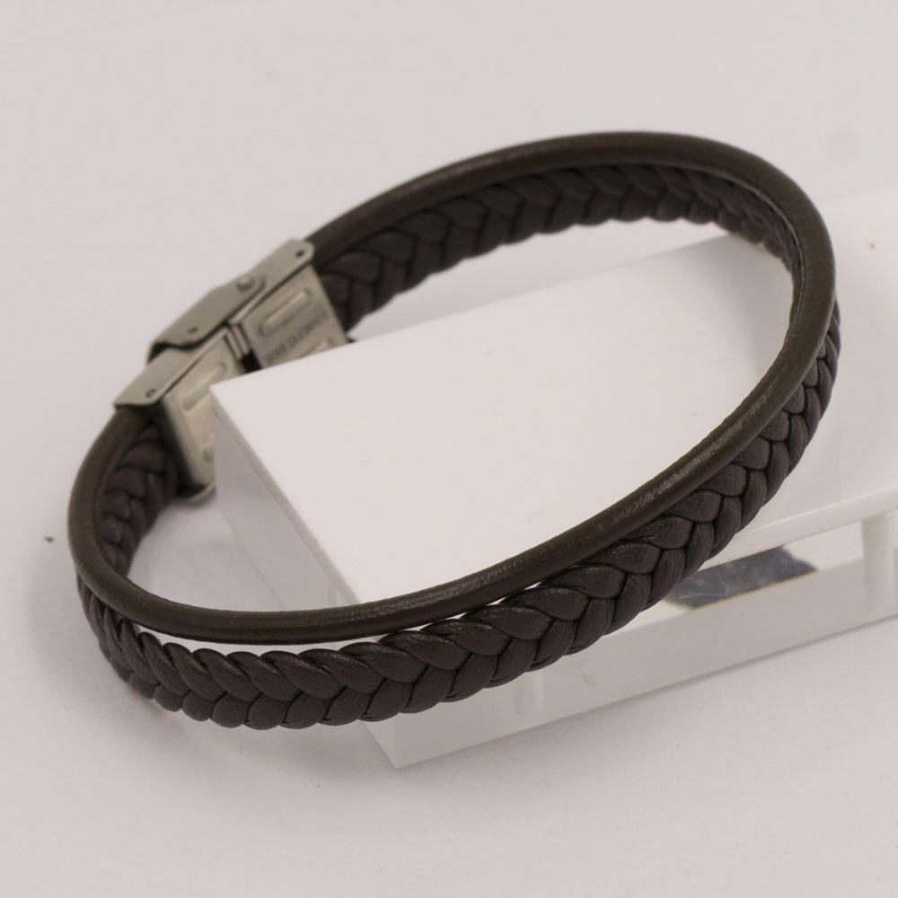 Baiyu simple design brown braided bracelet brown leather bangle