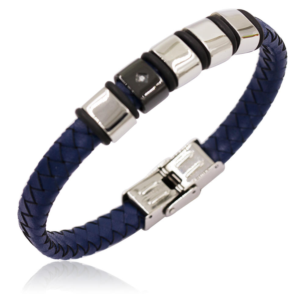 Blue leather european and american style design men bangle with stainless steel