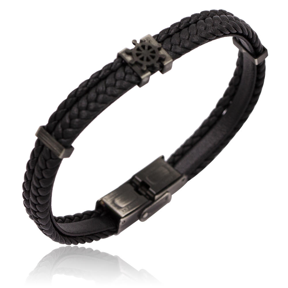 Low quantity custom order wholesale simple style black color men stainless steel bracelet bangle leather
