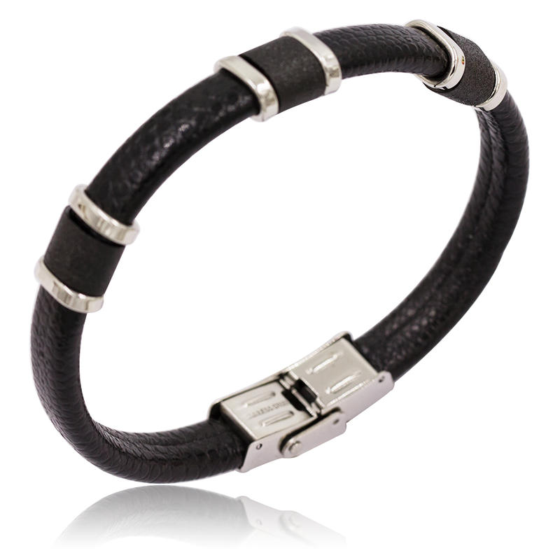 High class european and american markets black leather men bangle stainless steel men bangle bracelet