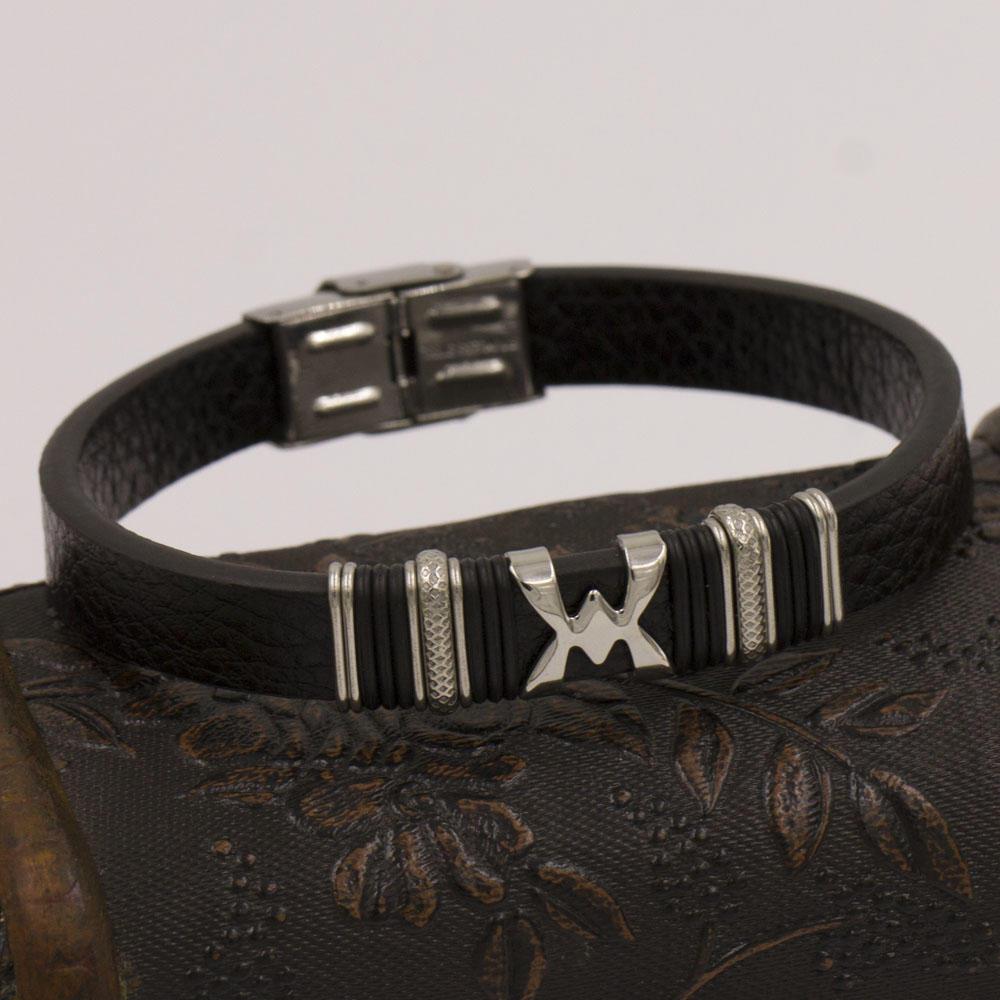 New design wholesale black leather men bangle and custom logo bangles for order