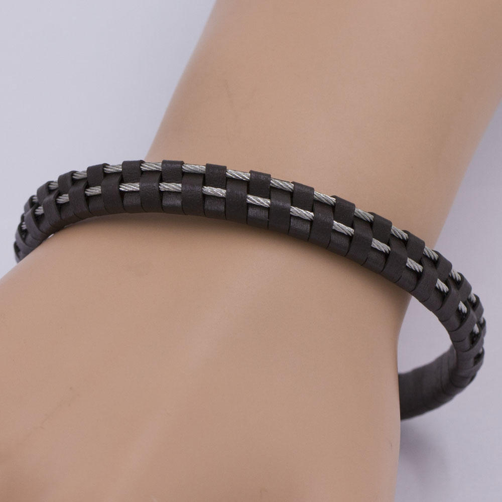 Two layers stainless steel wholesale leather bangles