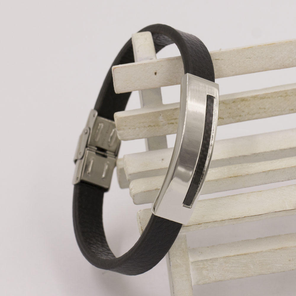 Simple and high quality wholesale price leather bangle men bangle