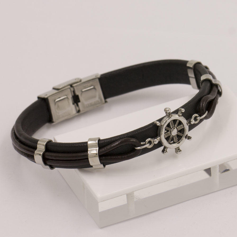 Stainless steel sailing compass black color men bangle for exporting in China
