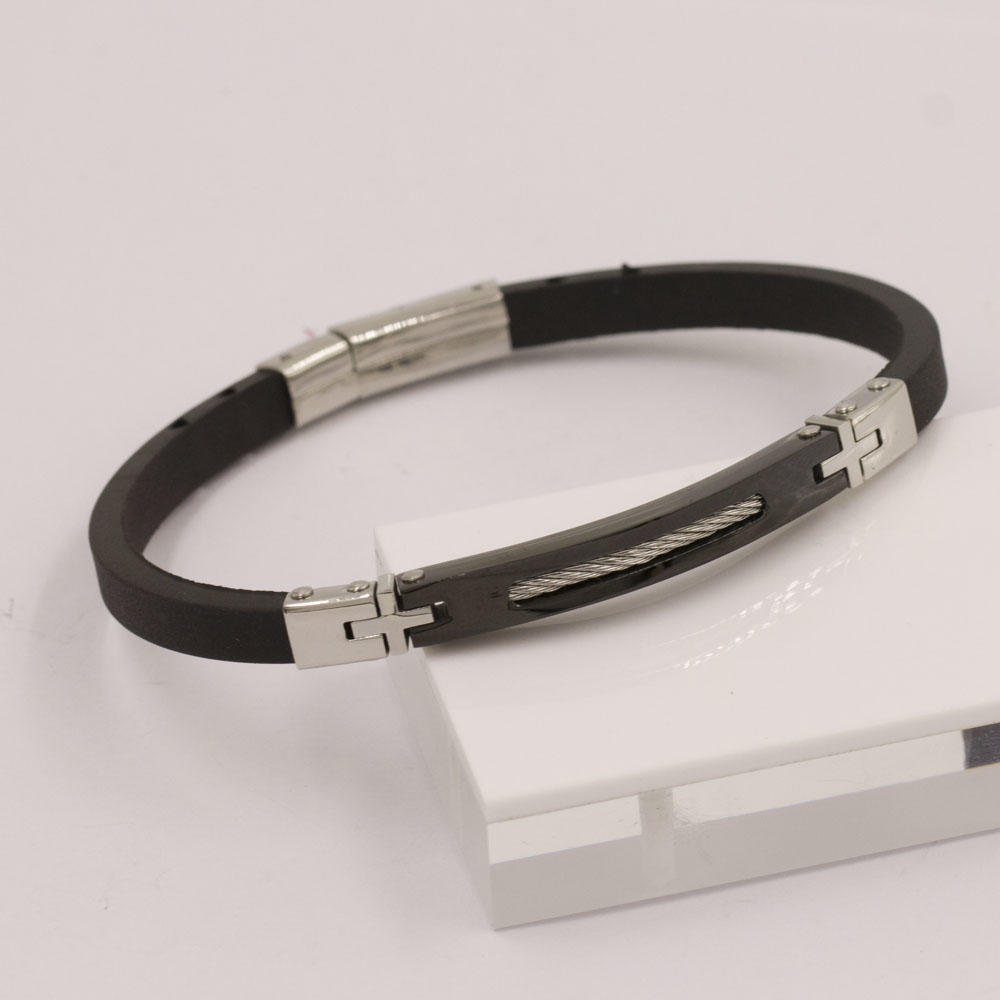 Fashion clasp leather bracelet bangles for men Jewelry