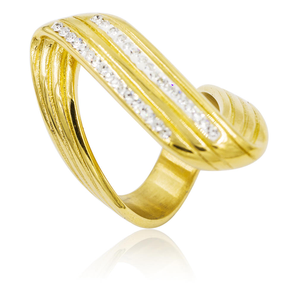 Extraordinary stainless steel love gold color ring