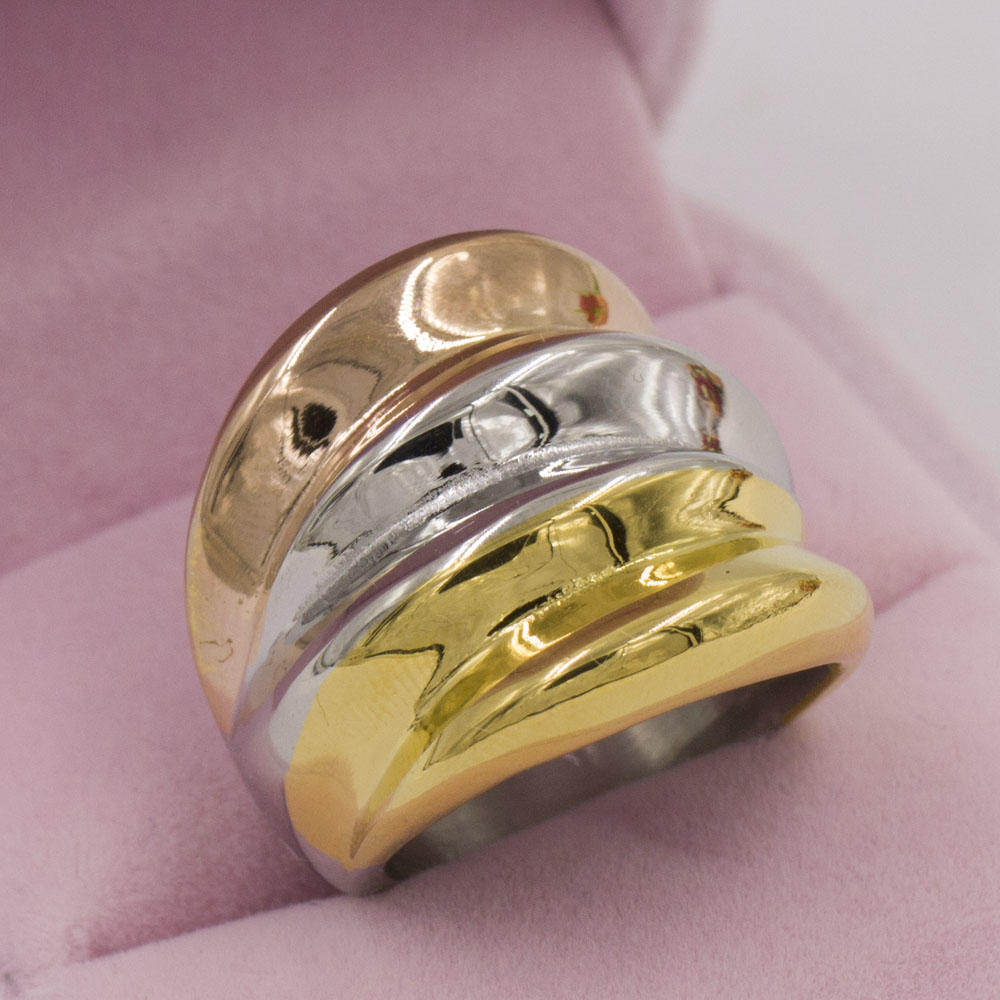 Multi three color 316L stainless steel jewelry ring