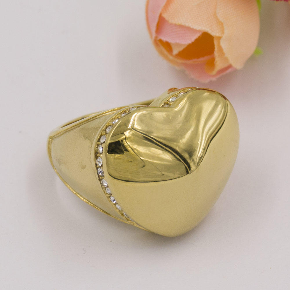 Golden big love heart shape ring designs in stainless steel