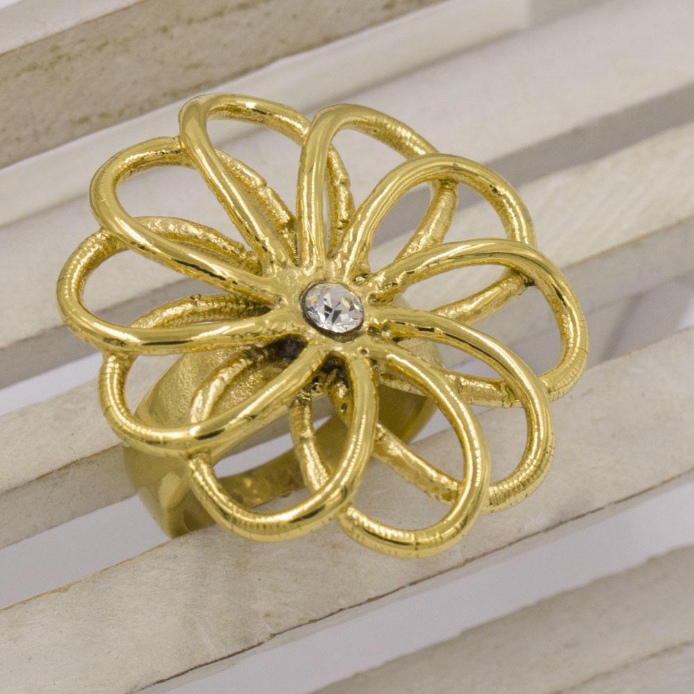 Lucky golden flower design finger ring for women