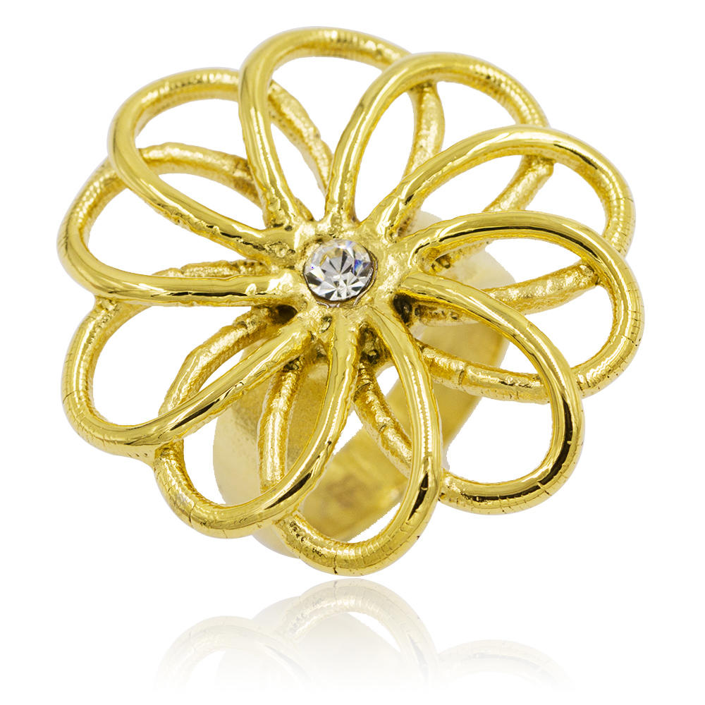 Lucky golden flower design finger ring for women