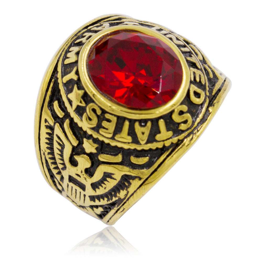 18 karat gold plated stainless steel ring,US army red stone ring