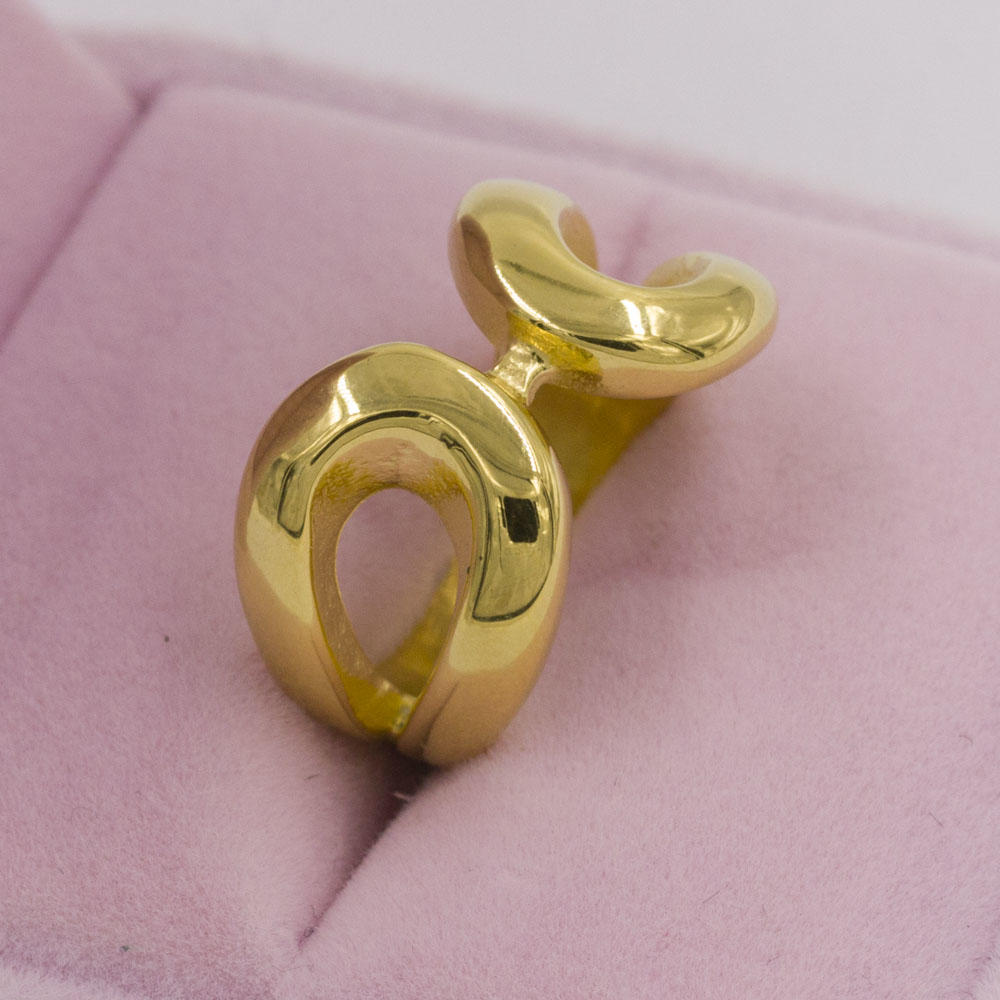 Fashion unique simple gold finger stainless steel rings for women wedding ring