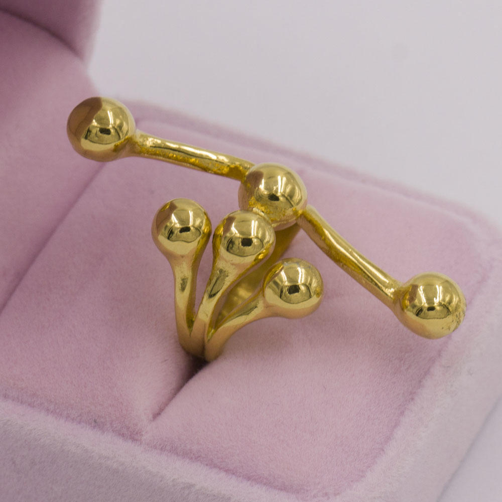 Irregular and unique shaped gold ring for women, custom made in stainless steel ring