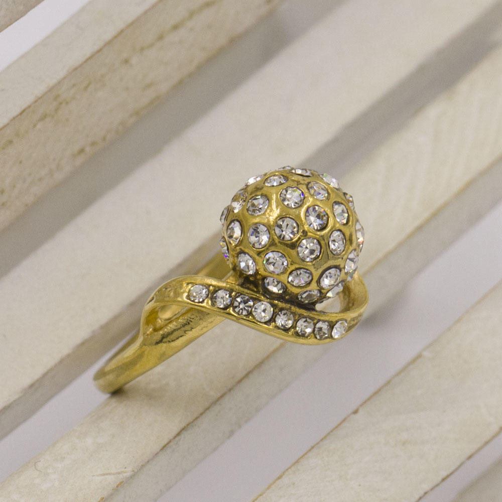 Fashion Low MOQ factory price wholesale gold plated stainless steel custom diamond ring for woman